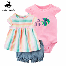 Cotton child lady garments summer season sample Clothes Set tee+quick+rompers vogue new child summer season Three items/set MFS-4053