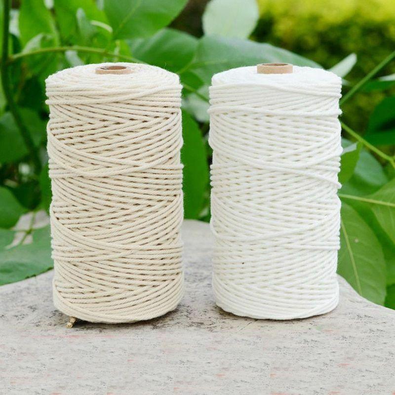 1/2 /3mm Diameter White Beige 200m Cotton Cord Rope Craft Macrame Artcraft String DIY Handmade Tying Wire Flat
