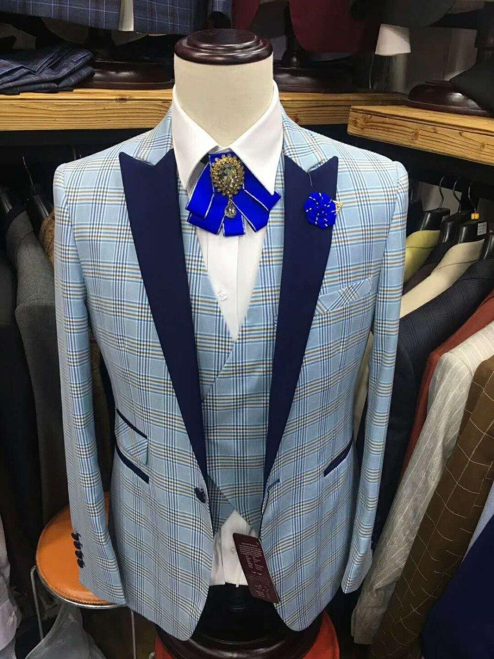 2018 New Lattice Checker Men Wedding Suits Slim Fit 3 Pieces