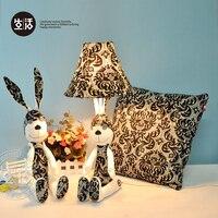 Rustic vintage rabbit fabric table lamp cartoon child combination lamp bedroom lamp birthday gift