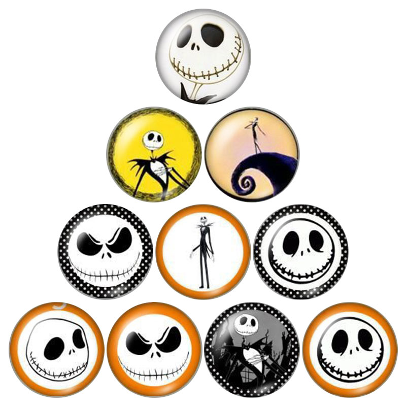 The nightmare before Chiristmas Jack Skellington 10pcs 12mm//18mm/25mm Round photo glass cabochon demo flat back findings ZB0529