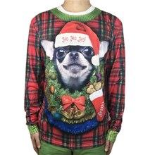 Funny Chihuahua Garland Printed Ugly Christmas T Shirt for Men Cute Mens Dog Shirts Xmas Vacation Tee Plus Size