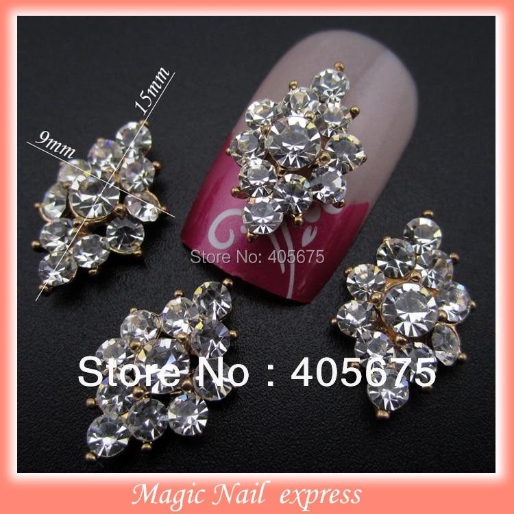 YNB377  Full rhinestones 3d metal alloy nail decoration nail jewelry DIY studs gold plated nail art tips bows decal 10pcs
