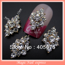 Full rhinestones 3d metal alloy nail