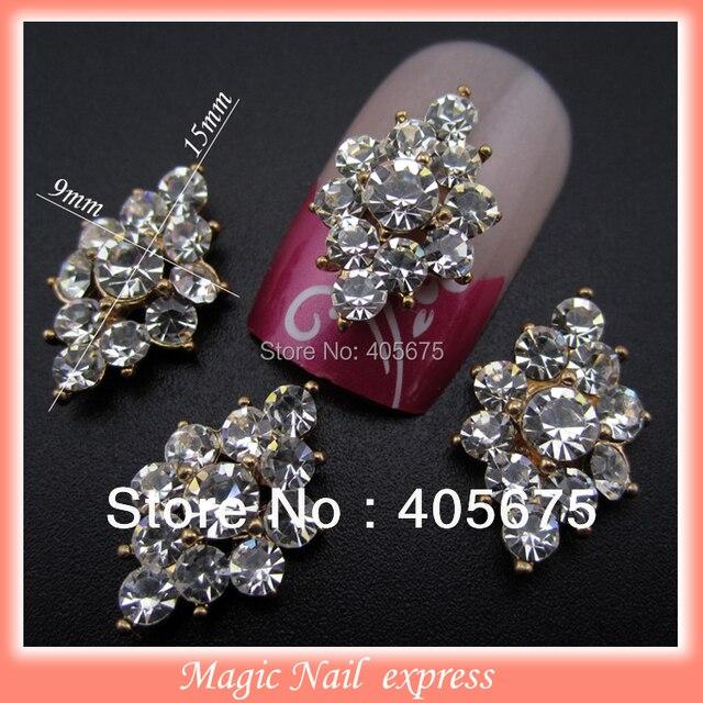 YNB377 Full rhinestones 3d metal alloy nail decoration nail jewelry ...