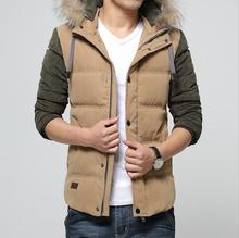 Brand Clothing Men Jacket Outerwear Zipper Casual Coat White Duck Down Coat Solid Thick Outwear Cotton Jackets Plus size #B0