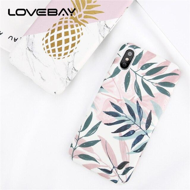 Lovebay Voor iPhone 7 6 6 s Plus 5 s SE Telefoon Case Mode Bladeren bloem Blad Geschilderd Hard PC Telefoon Case Voor iPhone X 8 Plus Case