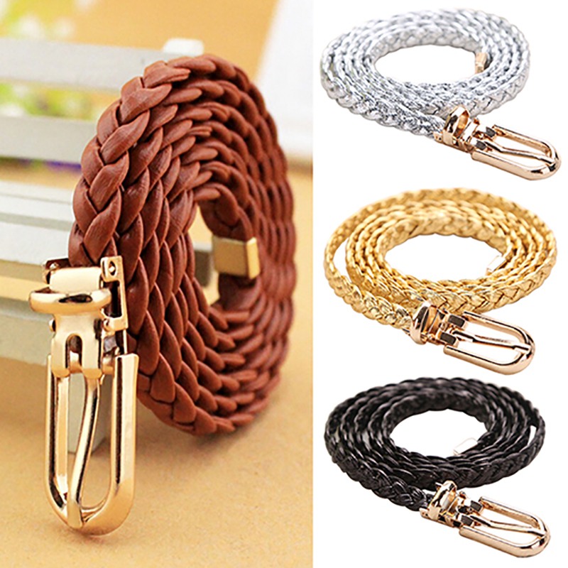 belts for women Braided PU Leather female belt Narrow Thin Buckle Strap Waist Belt All-Match Waistband BDIH