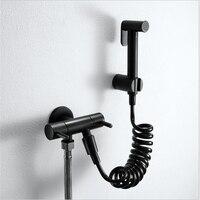Black Bidet Set Toilet Spray Gun Brass Wash Faucet Wall Mounted Handheld Toilet bidet sprayer set Kit Bidet faucet