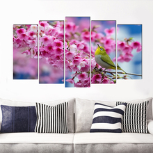 Pretty pink flower realist canvas painting country art prints 5 psc modern wall pictures for dining room office bedroom kitchen realist interviewing