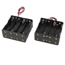 2 Шт. Держатель Случая Черный Полимерный Аккумулятор ж Wire для 8 х АА 12 В Батареи