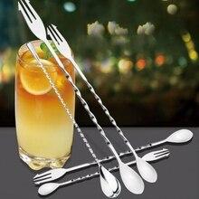 Stainless Steel Cocktail Bar Spoons Spiral Drink Mixer Shaker Spoon Fork Muddler Stirrer Stirring 26cm 32cm Twisted Mixing