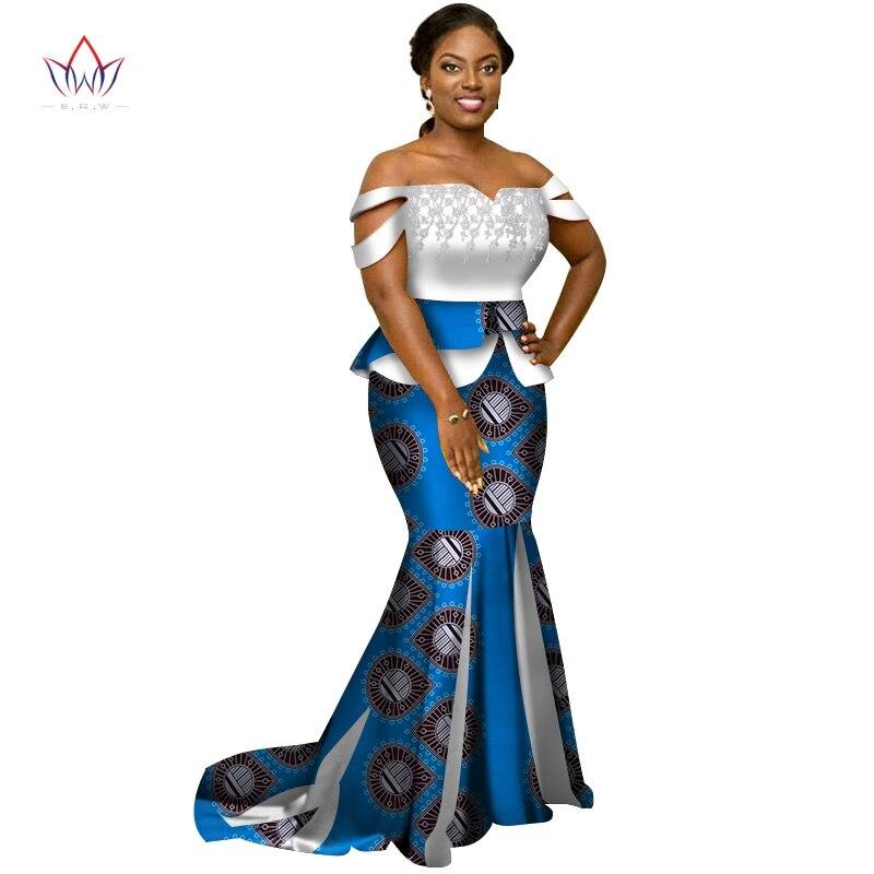 Remise afrique Style taille unique 2XL jupe ensemble Dashiki élégant afrique vêtements haut court et jupe femmes ensembles pour mariage WY3226