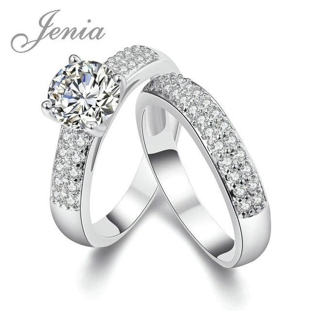 JENIA Высокое Качество Двойное Кольцо Белый Позолоченный Корень Циркон Обручальное  Кольцо для Пар R005B 1494a7bd6d9