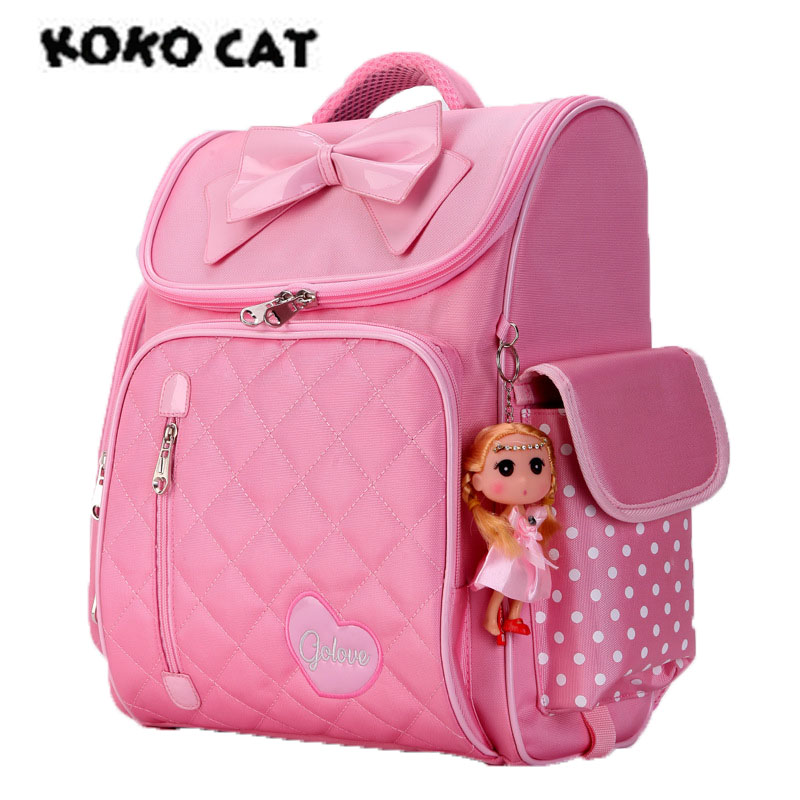 KOKO School Backpack for Girl Orthopedic Primary Backpacks Children Waterproof Schoolbags Lovely Shoulder for Teenagers Mochila футболка tommy hilfiger mw0mw05243 501 cloud htr