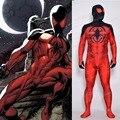 Linglong Alta Calidad Más Nuevo Scarlet Spider Traje Muscular Sombra 3D Print Comic Escarlata Spiderman Traje Para Adultos