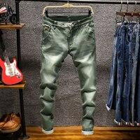 جديد أزياء الدنيم السراويل الصلبة يتأهل الجينز الرجال تصميم غسلها الرجعية طويلة تمتد نحيل جينز 6 اللون الكاكي أسود كحلي