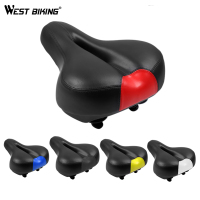 WEST BIKING Soft Bicycle Saddle Black MTB Hollow Breathable Bike Seats Cover High Quality Sattel Shorkproof
