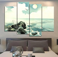 Modern Artwork One Set Modular 4 Panel Japanese Classic Ukiyoe Water Picture Bedroom Wall Decorative Canvas Print Type Poster