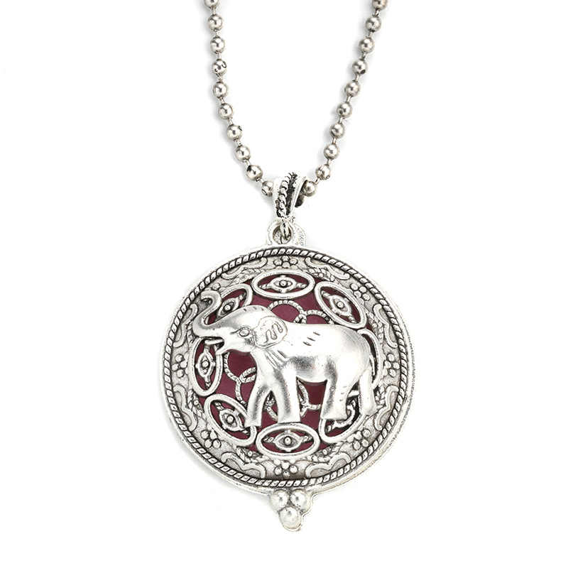 MODKISR Wholesale 30mm Retro Elephant Magnetic Aromatherapy Diffuser Jewelry Locket Pendant Essential Oil Scent Trendy Necklace