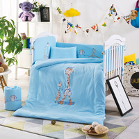 New Style 10Pcs Cotton Baby Bedding Set Cartoon Baby Newborn Crib Bedding Quilt Pillow Bumpers With Liner 120*60cm