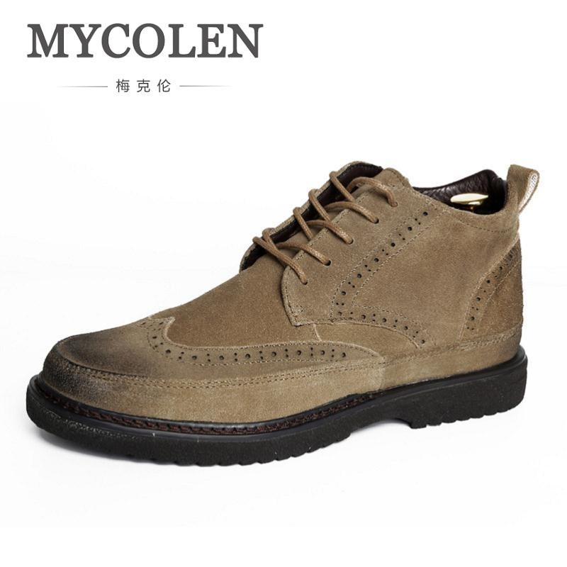 MYCOLEN Men Shoes New 2018 Men Split Leather Boots Lace-Up Winter Brogue Shoes Men Military Boots Coturnos Masculino Militar brogue boots two tone
