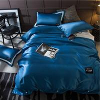 New arrive imitated silk bedding sets home textile 4pcs cotton bedclothes bed linen soft silky satin duvet cover queen king size