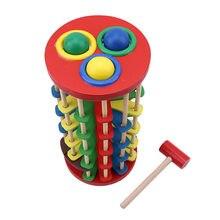 Venda quente libra criativa e rolo de madeira torre com martelo bater a bola rolando fora escada educação precoce brinquedos do bebê