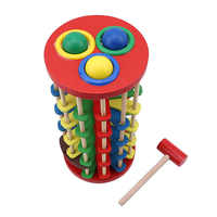 Hot Selling Creative Pound and Roll Wooden Tower with Hammer Knock the Ball Rolling Off Ladder Early Education Baby Toys