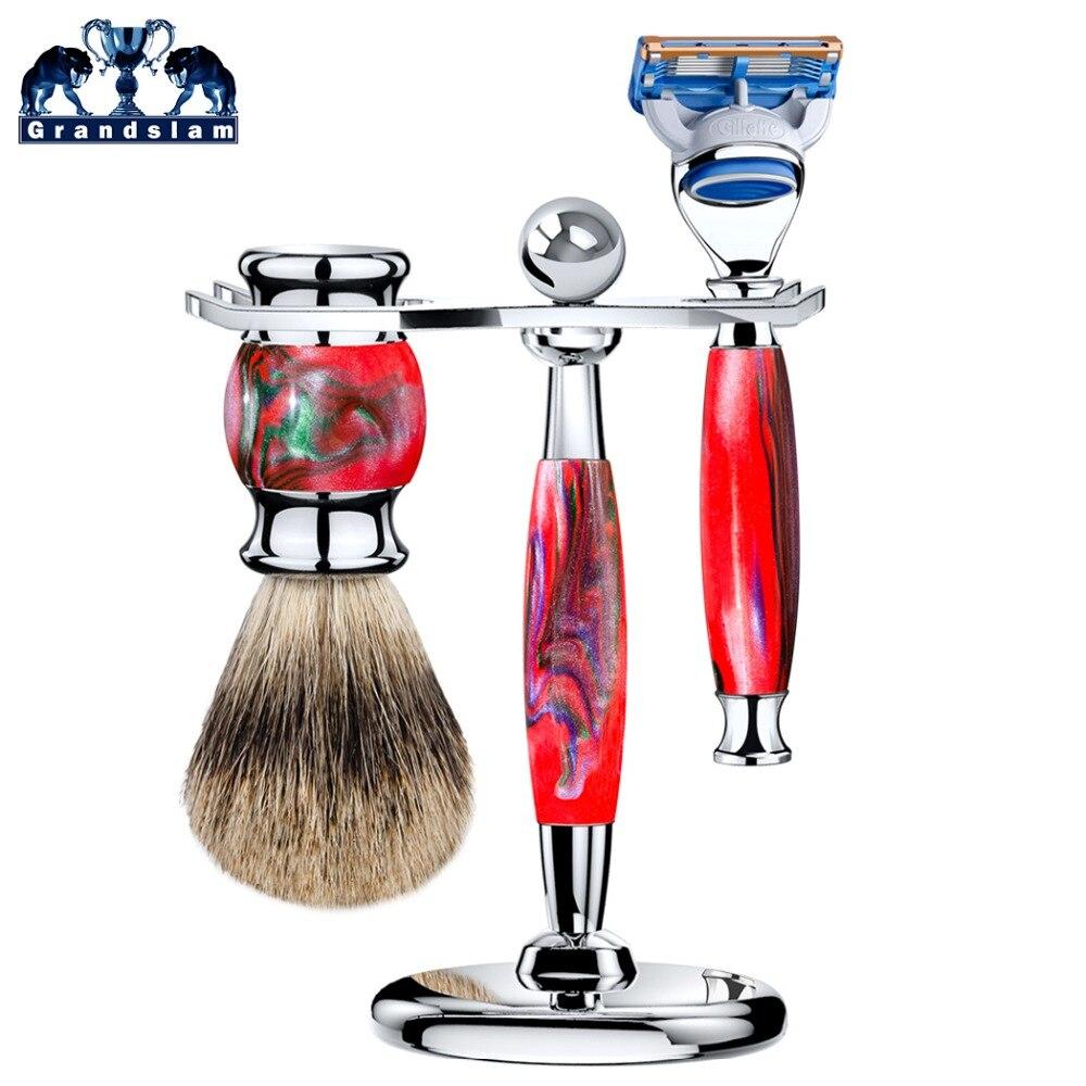 Grandslam Manual 5 Blade Razor Set Cartridge Shaving Razors + Badger Shaving Brush + Shave Alloy Holder Stand mens badger shaving brush stand razor holder and double head safety straight razor
