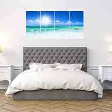 Canvas Wall Art 4 Pieces Set Sunny Blue Ocean Beach Home Decorative Modern Canvas Prints for Bathroom Office Kitchen Wall Decor(China)