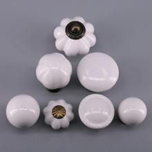 1 joyero de cerámica perillas cajón pequeño perillas Manijas para gabinete Tiradores para vestidor para dormitorio, cocina-blanco