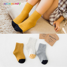 SLKMSWMDJ 3 pairs autumn and winter new products cotton double needle children boys girls socks Size S M L XL for 1-12 years old