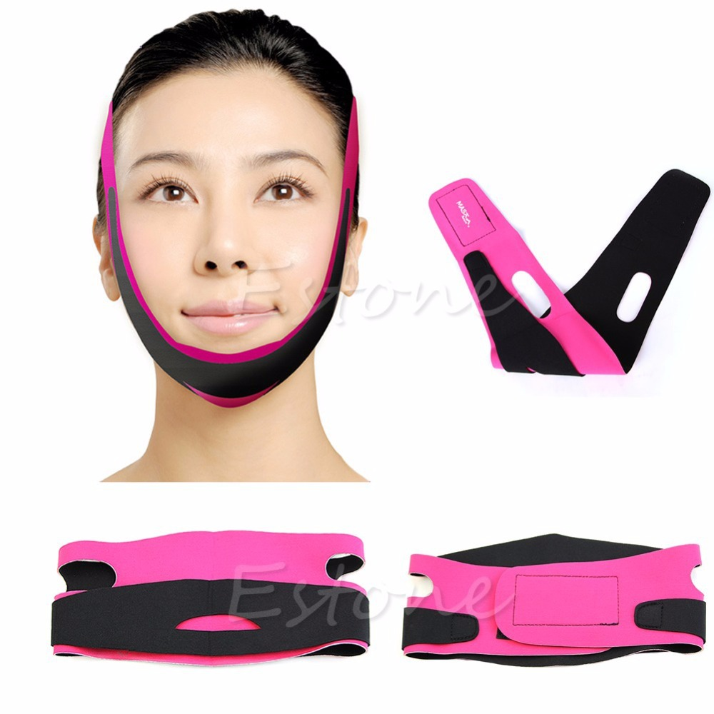 Slimming Face Belt Wrap Ultra-thin Chin Cheek Slim Band Lift Up Anti Wrinkle Mask Strap V Face Line Belt Casual Massage Pink New health care body massage beauty thin face mask the treatment of masseter double chin mask slimming bandage cosmetic mask korea