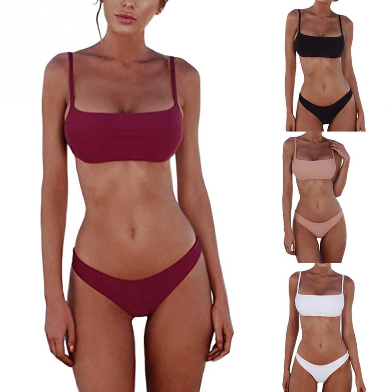 2019 New Summer Women Solid Bikini Set Push-up UnPadded Bra Swimsuit Swimwear Triangle Bather Suit Swimming Suit Biquini