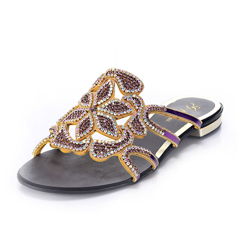 High quality Rhinestone Flat Shoes New 2016 Summer Sandals Women Leather Thick Heel Clip Toe Loafers Female Shoes Thong Sandals 2017 summer new women sandals slipper shoes fashion rhinestone thick high heel female slides snadals black plus size shoes xp35