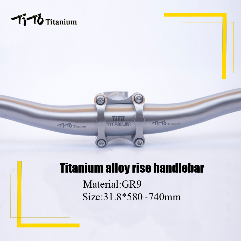 все цены на TiTo titanium Bicycle Swallow-shaped handlebar titanium mountain bike MTB riser handlebars bike parts 31.8*580-720mm