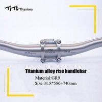 TiTo titanium Bicycle Swallow shaped handlebar titanium mountain bike MTB riser handlebars bike parts 31.8*580 720mm|Bicycle Handlebar| |  -