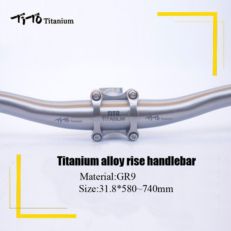 TiTo titanium bicicleta Guiador em forma de andorinha-titanium mountain bike mtb riser DE guidão de bicicleta parts 31.8*580-720mm