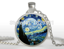 2017 Time-limited New Classic Women Moon Collares Maxi Necklace Collier The Starry Night Pendant Van Gogh Necklace Glass DomeHZ1
