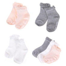 Newborn Children Sock Comfortable breathable 0-2-4 New Candy Color Lace ripple kids Baby Girl Princess Summer Socks 3colors(China)