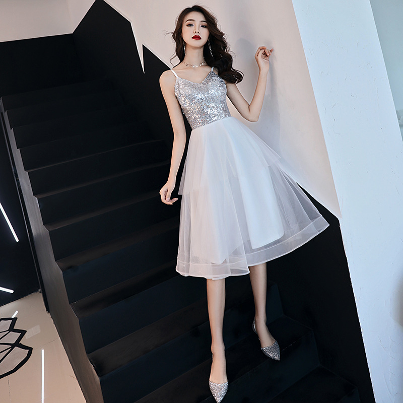 Sleeveless   Cocktail     Dresses   Sexy V-neck Spaghetti Strap Party Formal   Dress   Lace Plus Size Sequined Prom Bandage Ball Gowns E357