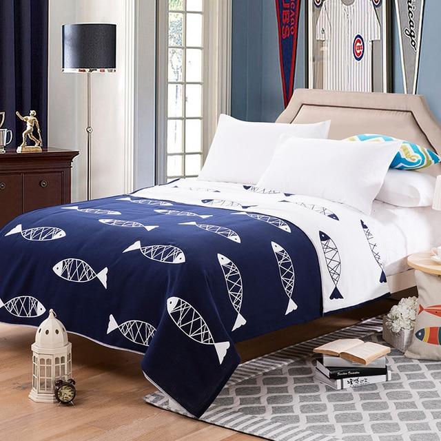 Patridgesky Towel Blanket Cotton Navy Blue 150 200cm 200 230cm Air Sofa