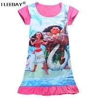 3 10Y 2017 New Cartoon Summer Children Kids Girl Vest Dress Fashion Moana Clothing Cute Design