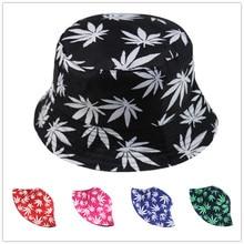 Maple Leaf Print Fisherman Hat Sun Hats Outdoor Sunshade Couple Boonie Cap Hip Hop Summer Beach Style Unisex Women Men 6 Colors
