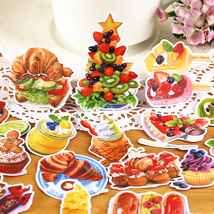 20pcs Yummy Food Icecream Bread Scrapbooking Stickers Fruits DIY Craft Sticker Pack Photo Albums Deco Diary Deco
