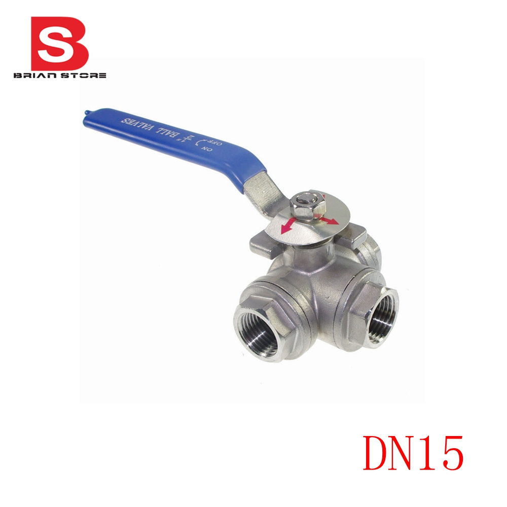 Female Three 3 Way T-Port L port 304 Stainless Steel Ball Valve free shipping 304 stainless steel ball valve 1 8 bsp female q11sa 64 female screw ball valve for pnenumatic line and