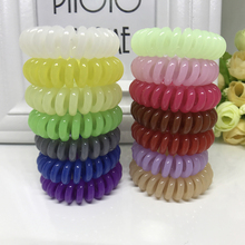 10Pcs lot Fashion Women Elastic Hairbands Colored Telephone Line Rubber Hair Rings Ropes for Women Girls