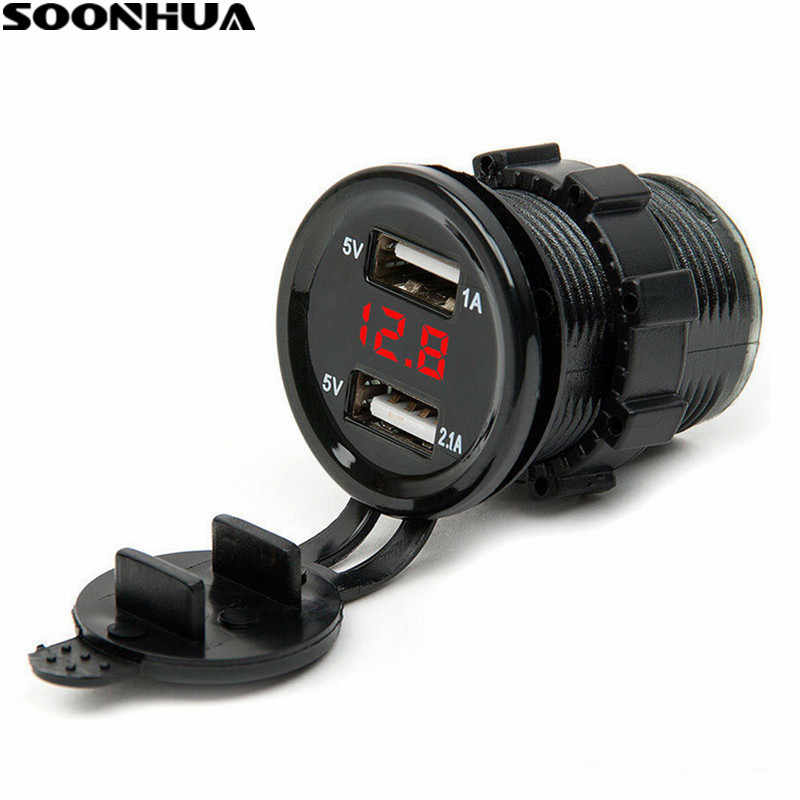 SOONHUA Dual USB Port Car Charger Cigarette Lighter Socket Plug LED Voltmeter Waterproof Mobile Phone Smart Charging Adapter