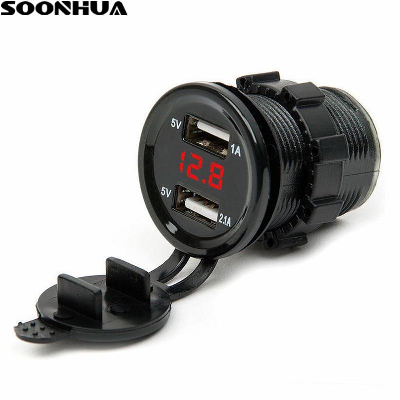 SOONHUA Dual USB Port Car Charger Cigarette Lighter Socket Plug LED Voltmeter Waterproof Mobile Phone Smart Charging Adapter